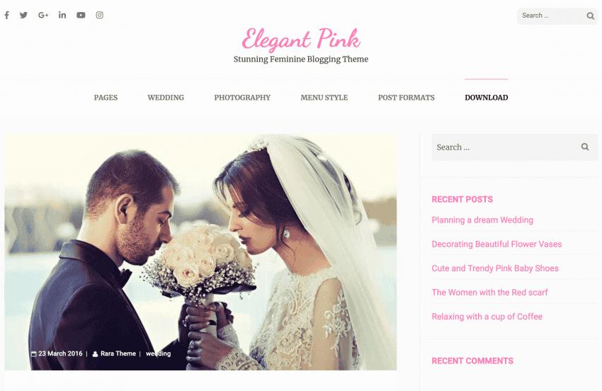The Elegant Pink theme demo wedding page.