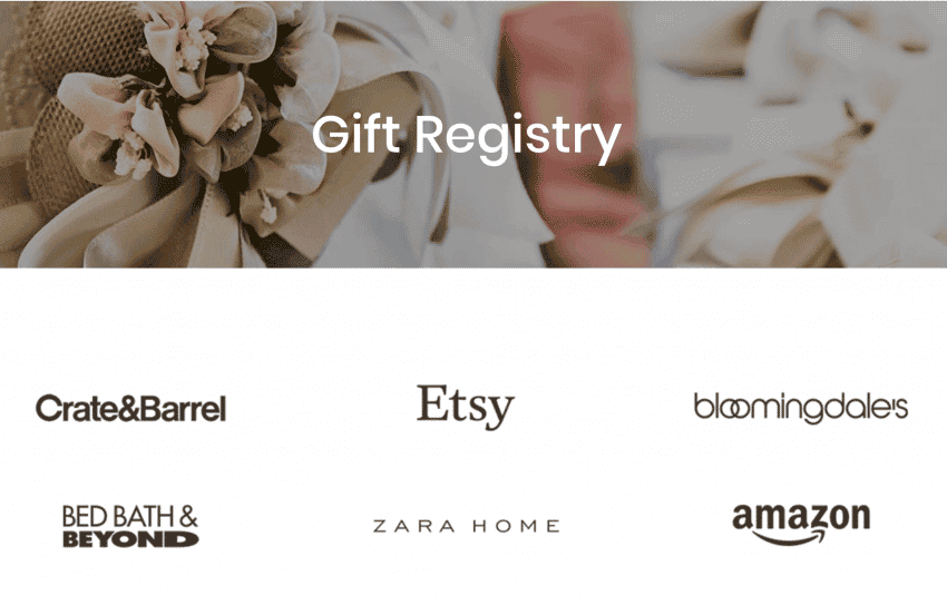 A wedding website Gift Registry page.
