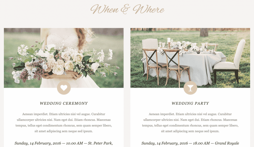 An example of a Location page for a wedding website.