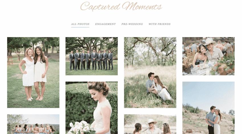 A wedding website photo gallery.