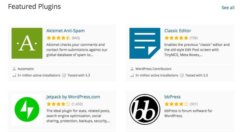 Featured WordPress plugins.
