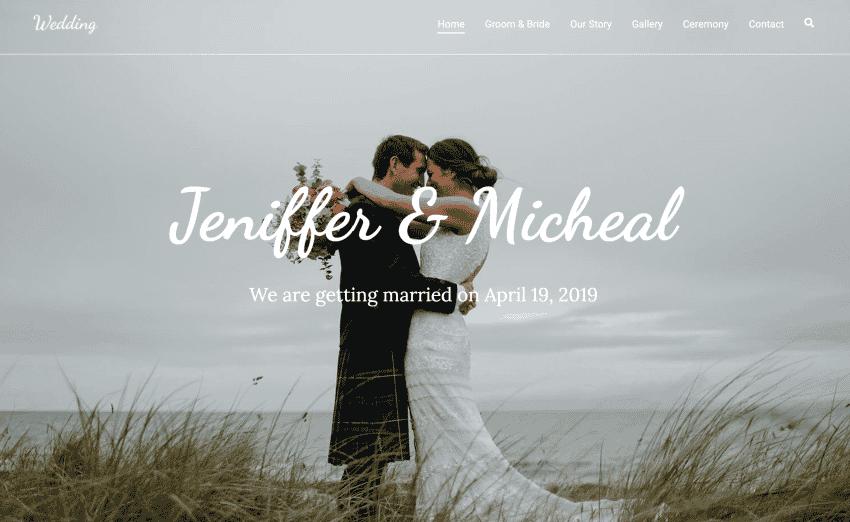 The Zakra theme wedding website demo.